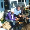 Preparing the riwai (potatoes)