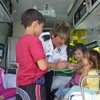 Grasyn, Anne, Rachel and Mihi in the ambulance