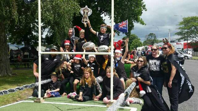 Christmas parade All Blacks champs
