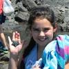 Grace finds a starfish at Kiritehere