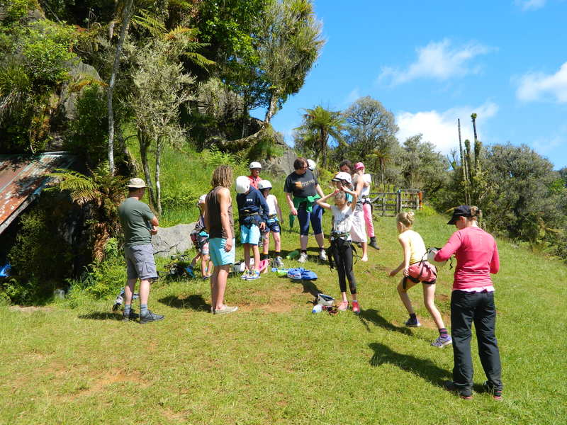 Preparing for abseiling at Stubbs Farm