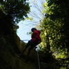 Abseiling down a rockface