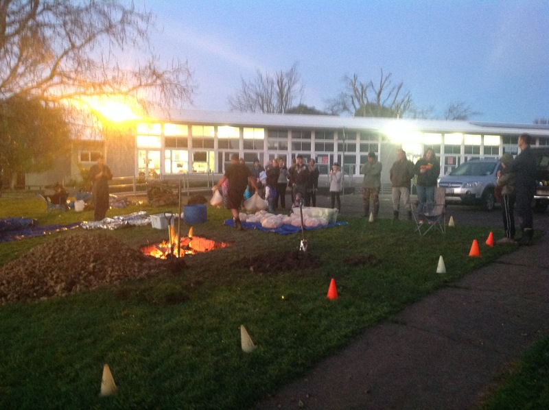 Overnight crew light the fire!