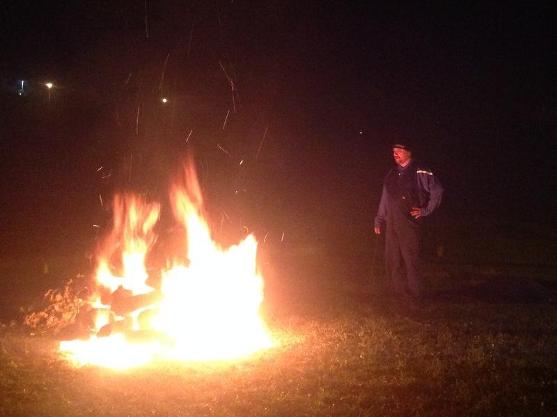 Tending the fire.