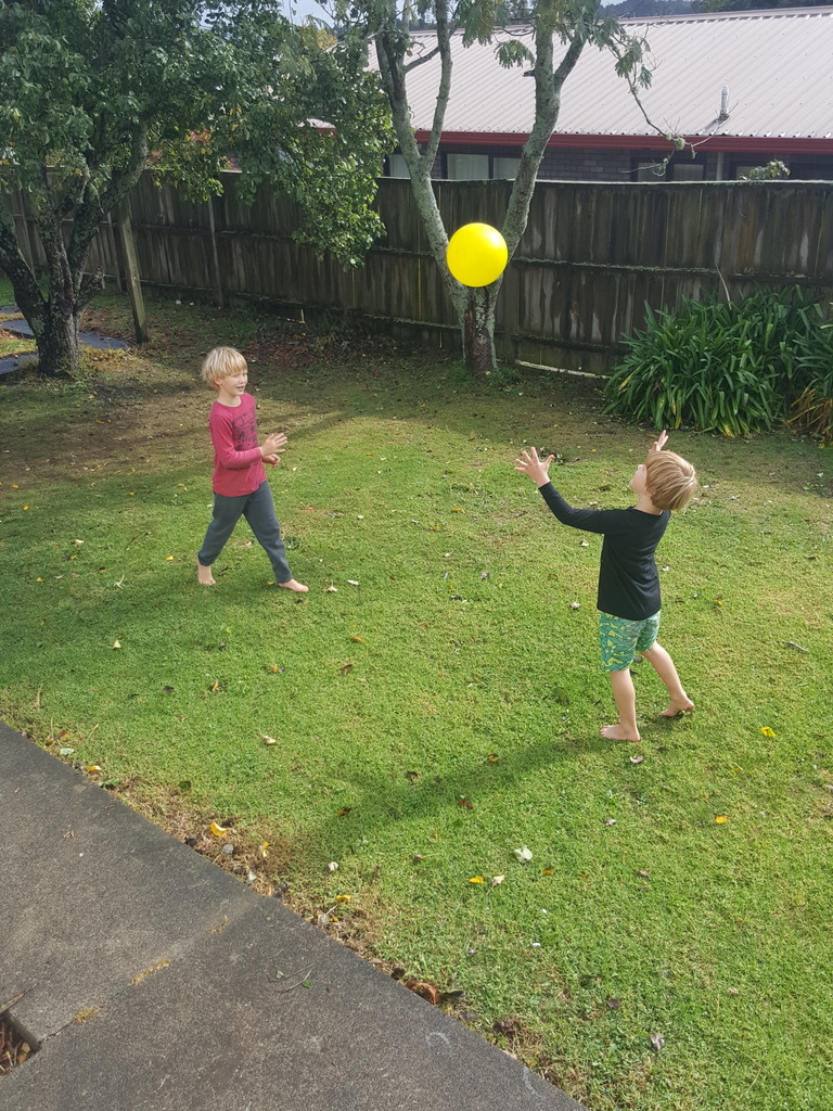 Arno and Henry playing in the fresh air