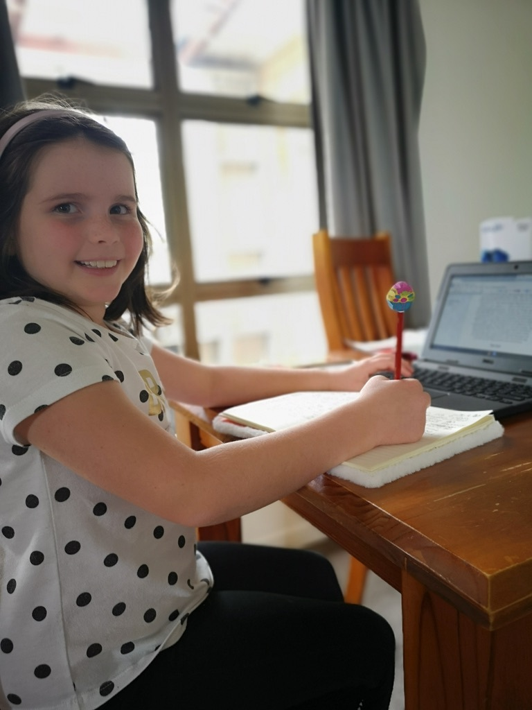 Becky busy writing her daily diary