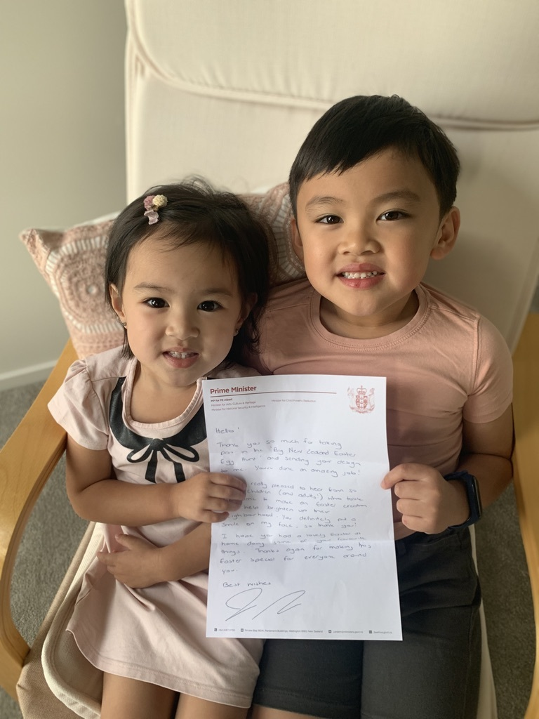 Theon with his letter from the Prime Minister of New Zealand.