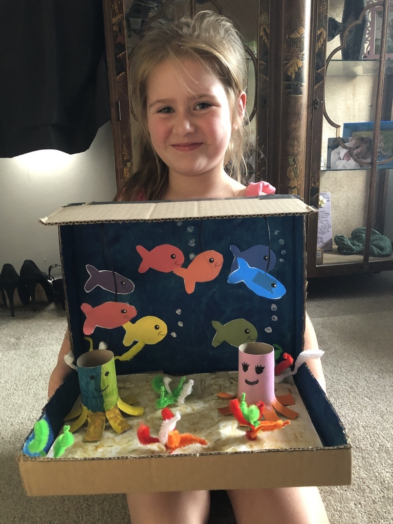 Aila with her ocean diorama