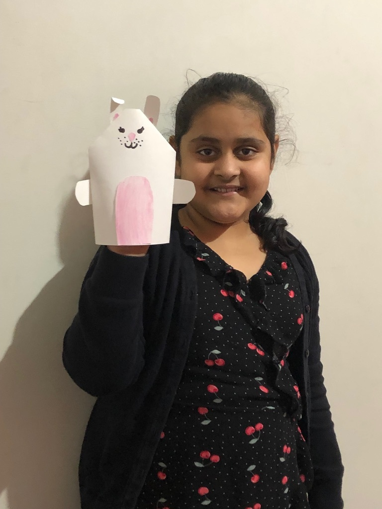 Khushpreet with the puppet she made