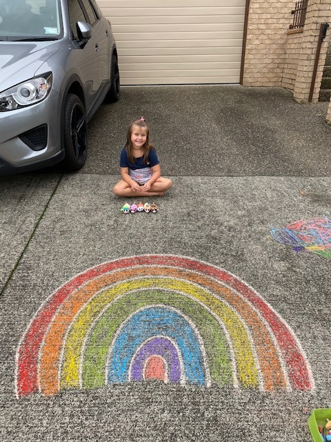 Meela and her chalk art