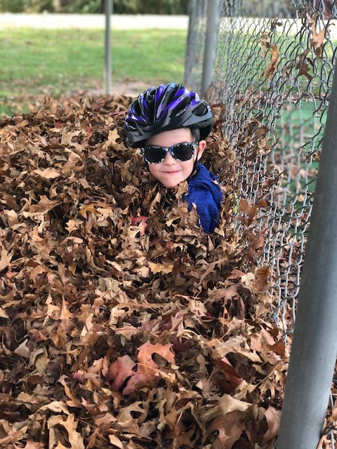 Theo playing in the autumn leaves after a bike ride.