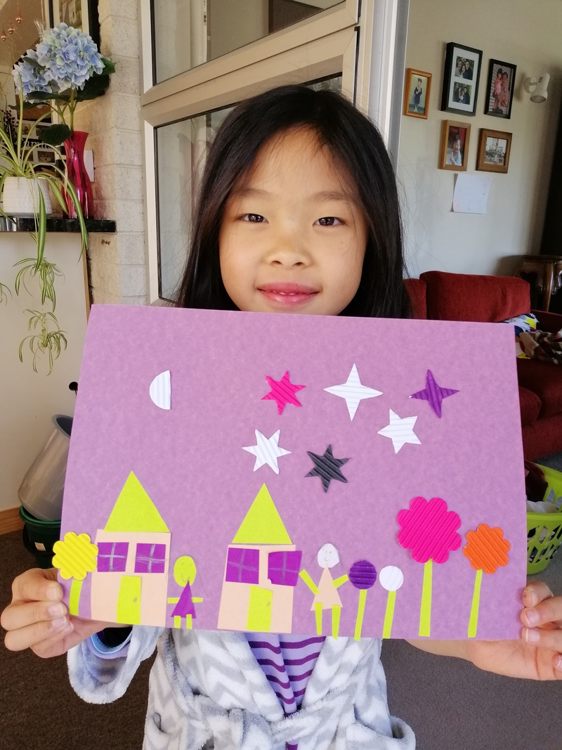 Elizabeth with her shape art